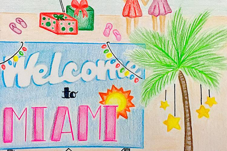 Art of two young girls holding hands on a beach with Christmas decor behind a Welcome to Miami sign.