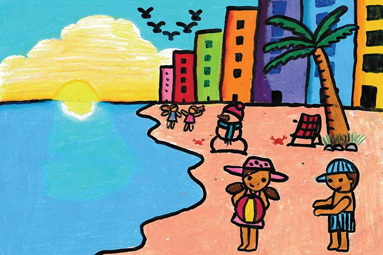 Art of a family on a beach with a snowman made of sand in front of colorful buildings.