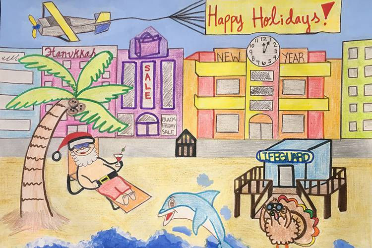 Art of Santa Clause relaxing on a beach holding a cocktail with art-deco buildings in the background.