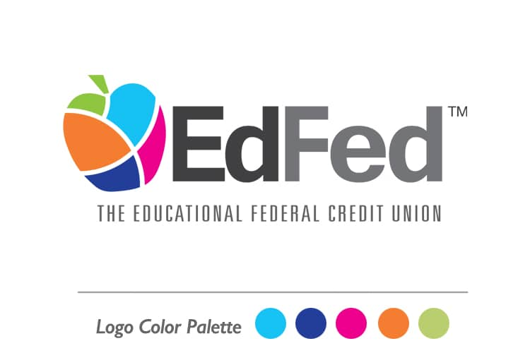 The EdFed logo displaying the new color palette of: orange grove, caribbean blue, marlin blue, keylime green and pink flamingo.