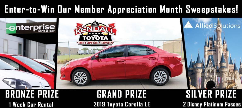 Sweepstakes giveaways. Grand Prize - A 2019 Toyota Carolla LE. Silver Prize: 2 Disney Platinum Passes. Bronze Prize - 1 week enterprise car rental.