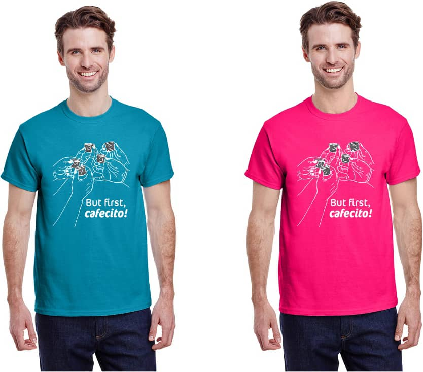 Two male models wearing the My 305 t-shirt in teal and pink.